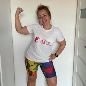 koszulka mamy-biegamy kolorowe legginsy do biegania dla kobiet
