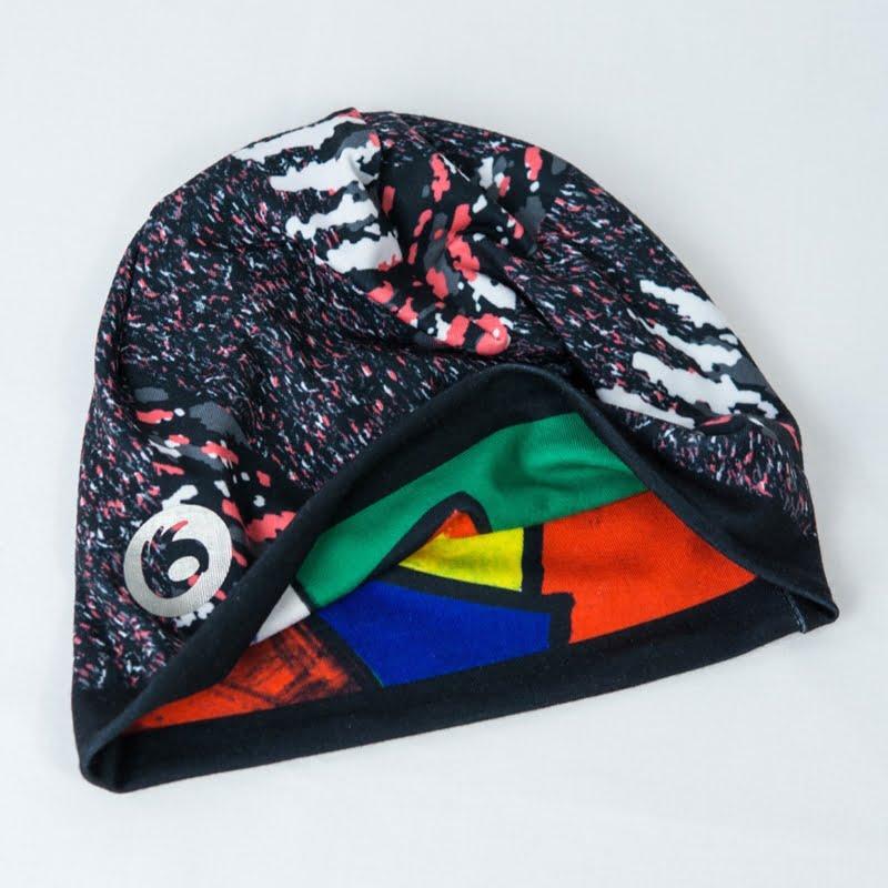 dwustronna czapka do biegania termoaktywna kolorowa
