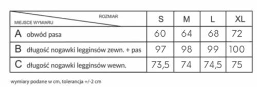 Tabela rozmiarów dla loco leginsów