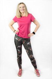 kolorowe legginsy do biegania dla kobiet amarantusy