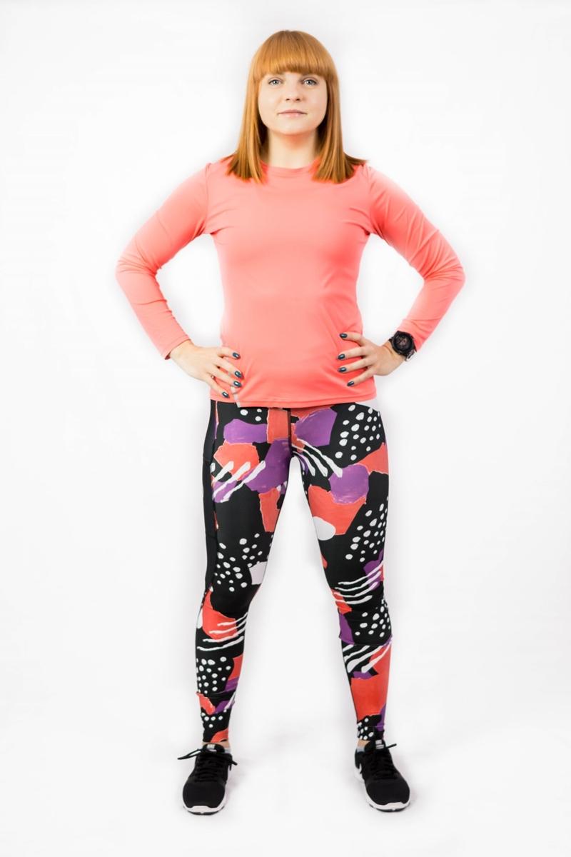 długie kolorowe legginsy sportowe do biegania dla kobiet floreski