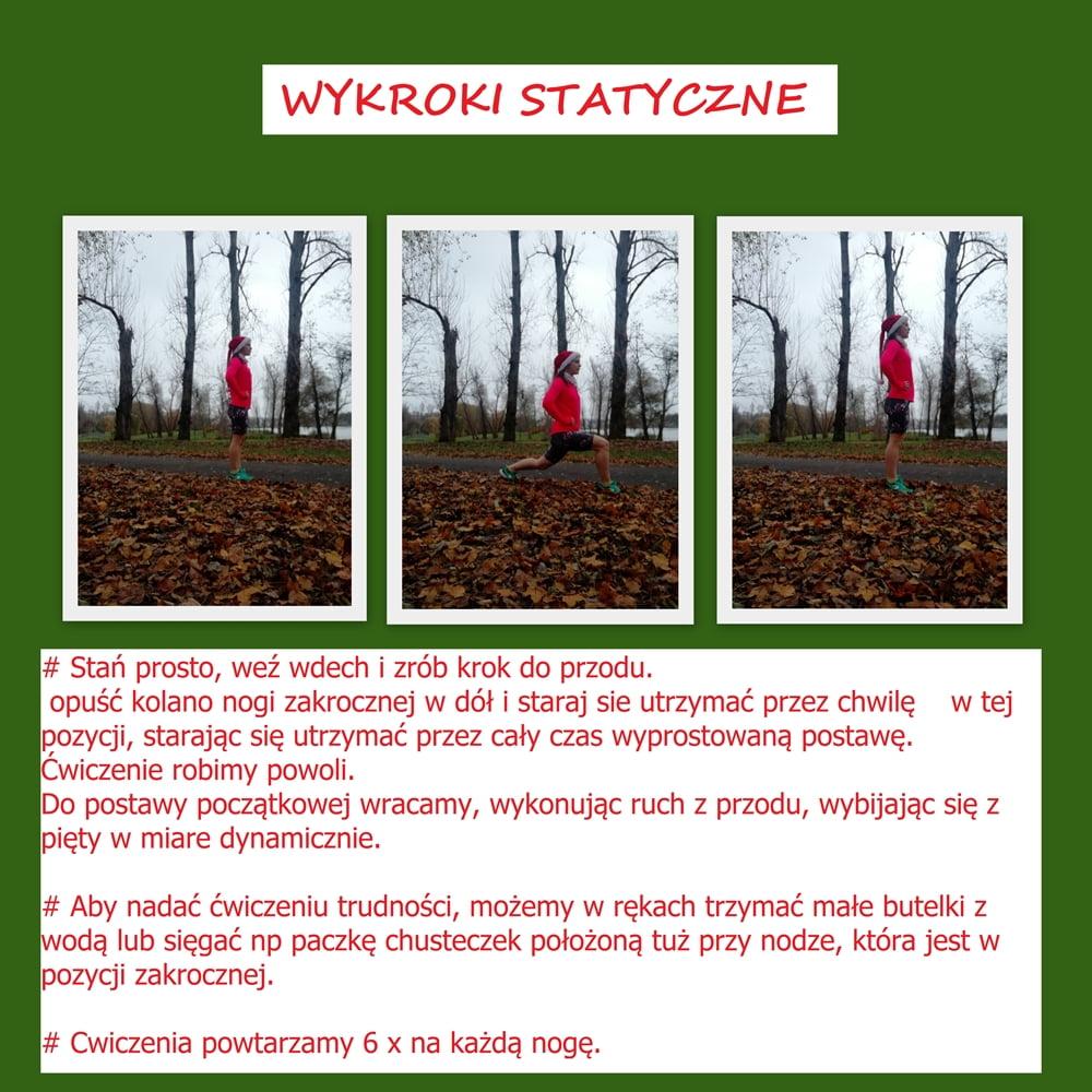 ćwiczenie wykroki statyczne trening dla kobiet krótkie legginsy do biegania amarantusy